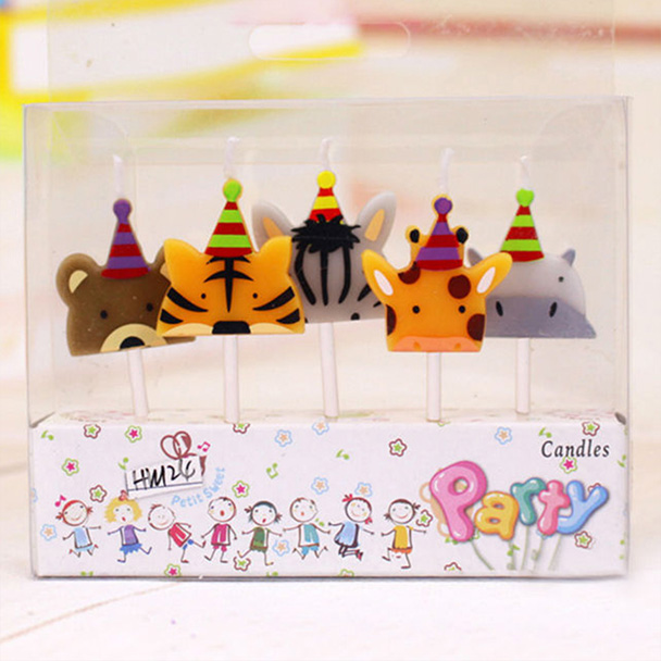 First Birthday Candle With Animals Stock Photo: Zoo Animal Birthday Party Candles
